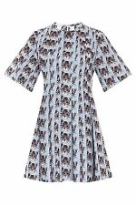 BNWT Paul And Joe Cat Print Pleated Dress Retro 50s Style Light Blue 38 EU M Uk