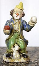"VINTAGE CERAMIC PORCELAIN HAND CRAFTED CIRCUS CLOWN with DOG FIGURINE 7"" Tall"