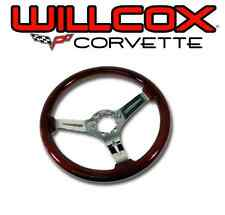 68-75 77-82 Corvette Mahogany Steering Wheel Chrome Spokes with Tilt Tele Column