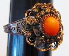 Vintage Antique Chinese Export Costume Coral Cabochon Filigree Ring Hallmarked
