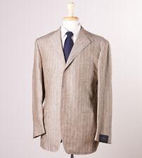 NWT $3800 SARTORIA PARTENOPEA Natural Brown Extrafine Linen Suit 42 R Slim-Fit