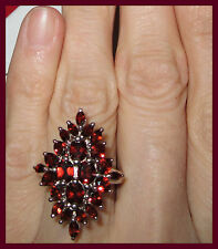Genuine Mozambique Garnet TCW 5.0 cts Ring Platinum Sterling Silver 925 sz 6