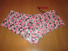 Loving Moments Ladies short style pink & black flower print knickers size 8/10