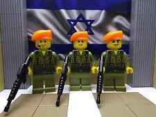 3x LEGO Israeli IDF Soldiers (Orange Berets) with Berets & M16's