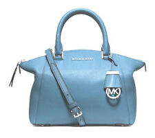 New Michael Kors RILEY Small Pebble Leather Satchel in Sky Blue - 30S5GSRLS1L