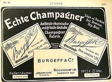 BURGEFF & Co Sektkellerei Hochheim am Main Originalreklame Inserat 006 1904