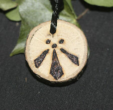 Oak Wood Awen Pendant with cord- Pagan, Druid, celtic, ogham