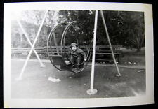1920's OLD ROUND METAL SWING SET with LITTLE GIRL Photo