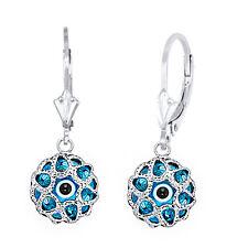 Evil Eye Greek Turkish Drop Charm Sterling Silver Hamsa Leverback Earrings