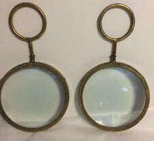 Pair 2 Of Magnifying Steampunk CONVEX BUBBLE GLASS Round BRASS PICTURE FRAMES