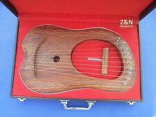 Lyre Harp Rose Wood 10 Metal Strings / Celtic Lyra Harp with Hard Carrying Case