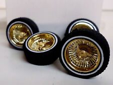 Hoppin Hydros 1/24 1/25 GOLD Baby D's Plastic Model Lowrider Rims W/ WW Tires