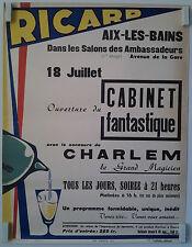 affiche Pub RICARD Charlem le magicien Aix-les-Bains cabinet fantastique   /PBR