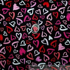 BonEful Fabric Cotton Quilt Black B&W Red Pink White Sexy Girl Wild Heart SCRAP