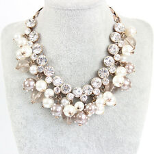 vintage GoldGp faux pearl rhinestone Choker Chunky Statement bib collar necklace
