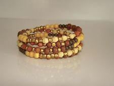 Wood Beads w/Clay/Orange and Yellow Beaded Snake Coil Wrap Bracelet #5526