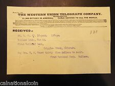 First National Bank of Cripple Creek, Colorado Check and Telegraph 1901