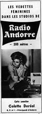 ▬► PUBLICITE ADVERTISING AD RADIO ANDORRE Colette Deréal 31 Janvier 1965