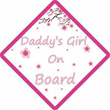 PERSONALISED DADDYS GIRL ON BOARD FLOWER , Car Sign. Baby Child Children Safety