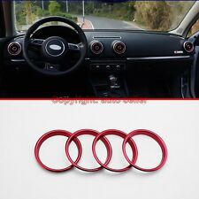 4Pcs Stainless Steel Air Vent Outlet Ring Cover Red For Audi A3 8V 2012-2015