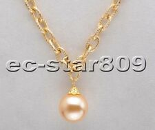 "D0218 17"" 20mm Round South Sea Shell Pearl Chain Pendant"