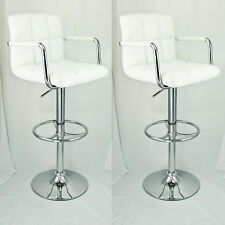 2 Set Swivel Barstools White Arm Leather Modern Adjustable Hydraulic Bar Stool