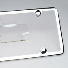 Slim License Plate Cover Frame Holder 4 Hole Stainless Steel Polish Mirror w/Cap