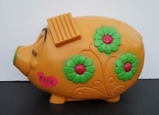 Vintage New York Vinyil Prod. Inc 1971 Money Lover Unbreakable Coin Pig Bank