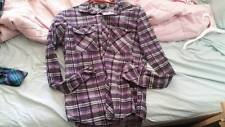 PURPLE PLAID FLANNEL SOCIAL COLLISION SIZE S SCENE PUNK GOTH EMO  grunge