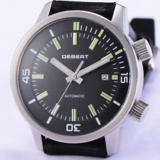 44.5mm DEBERT Miyota 821A Mov't  Black DIal Rubber Straps Mens Auto DT7919SGB
