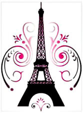 20 WATER SLIDE NAIL ART DECALS TRANSFERS BLACK EIFFEL TOWER WITH PINK SWIRLS