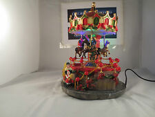 Large Christmas fairground carousel gallopers lights village scene #1
