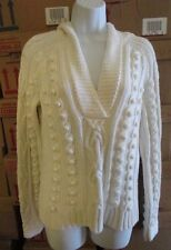 MODA INTERNATIONAL Long Sleeve WHITE Hooded Sweater Size LARGE Cotton/Acrylic