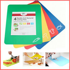 4 Flexible Chopping Mats Anti Bacterial Kitchen Cutting Boards Tool Colour Coded