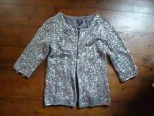 KATE MOSS SILVER SEQUIN CARDIGAN/JACKET 6 TOPSHOP