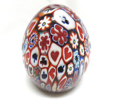 Vintage MILLEFIORI Art Glass Egg Paperweight Playing Cards Hearts Clubs Spades