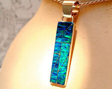 "Long Black w/green fire 2"" Bar of  FIRE OPAL Post Drop Silver 925 UNISEX PENDANT"