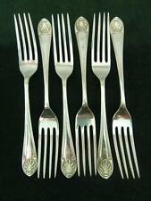 6 VINTAGE 1917 Walker & Hall dessert lato FORCHETTE Shell Pattern placcato in argento #1