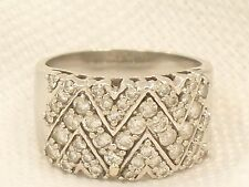 Estate 14K White Gold 1 Carat EFFY Balissima Signed BH Zig Zag Diamond Ring