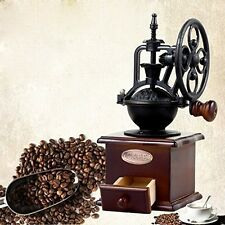 Antique Coffee Grinder Vintage Manual Cafe Grinding Beans Burr Mill Hand Wooden