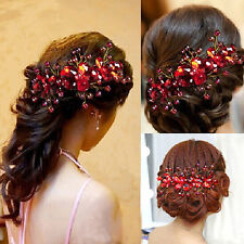 Women's Red Flower Wedding Bridal Party Handmade Hair Pin Clip Jewelry Fabulous