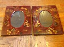 Vintage Pair Of Oriental Asian Japanese Red Lacquer Picture Frames