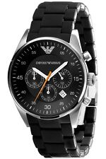 NEW EMPORIO ARMANI AR5858 BLACK MENS CHRONOGRAPH WATCH - 2 YEAR WARRANTY