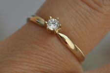14K Yellow Gold Solitaire 0.50 ct Man made Diamond Promise Ring size 5 6 7 8 9