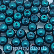 6mm Glass faux Pearls - Petrol (dark blue) - 100 beads, jewellery making