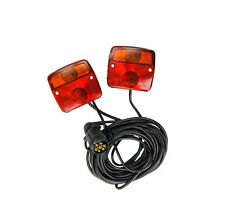 CARAVAN REAR LIGHT ON MAGNETIC BOARD TOWING L LAMPS 7.5M CABLE & PLUG TRAILER