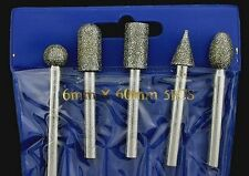 5 Piece Diamond 46 grit Carving Burr Set Lapidary Tool