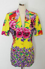 womens vintage 90's VERSACE JEANS floral jacket trousers suit size UK 10 12