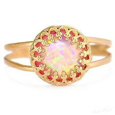Gold Plated 14k Ring Genuine Pink Opalite Warranty Sizeable Gems Free Shipping