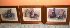 Antique Cast Iron Wood Stove Prints, Coal Bucket Wood Box Rocking Chair Set of 3